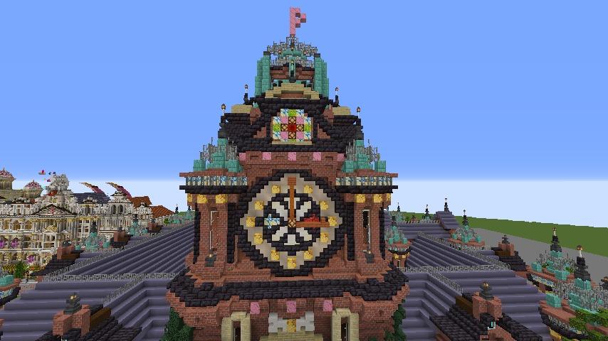 Minecrafterししゃもがマインクラフトでぷっこ村にバルモラルホテル をモデルにした時計塔のあるホテルを建築する7