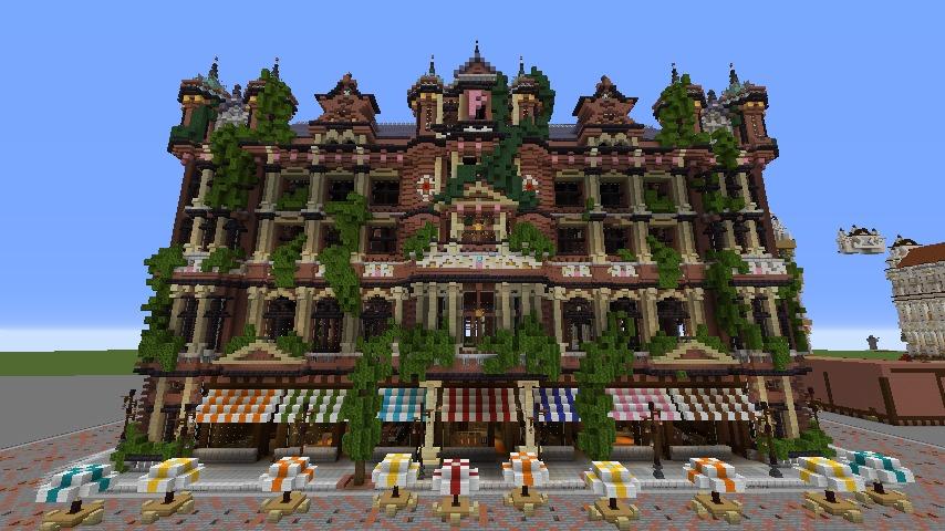 Minecrafterししゃもがマインクラフトでぷっこ村にバルモラルホテル をモデルにした時計塔のあるホテルを建築する9