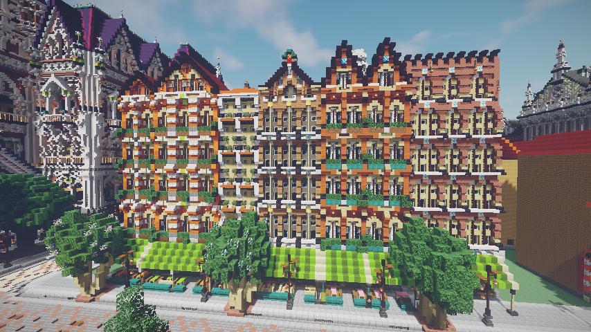 Minecrafterししゃもがマインクラフトでぷっこ村に作ってるベルギーっぽい区でボツを出してしまった話15