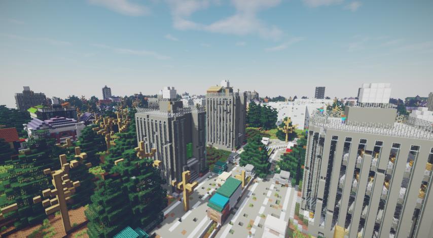 Minecrafterししゃもがマインクラフトで作った、ゾンビだらけの崩壊した都市でサバイバルするディメンションを追加するデータパック「Zombrella」を紹介する1