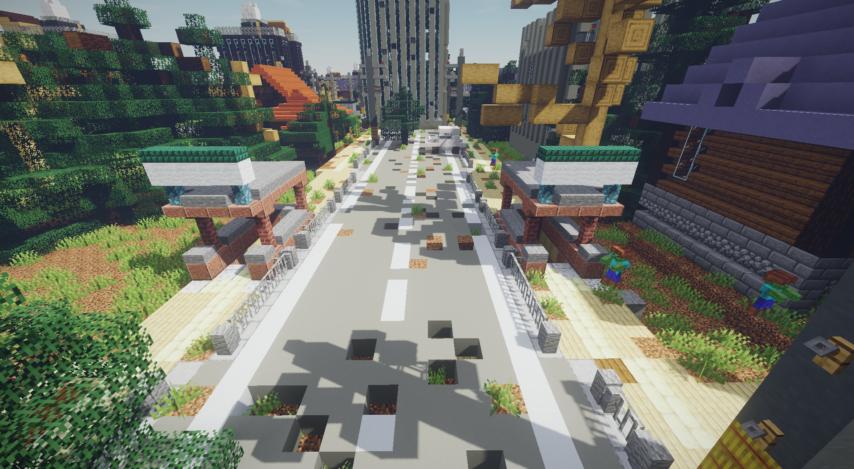 Minecrafterししゃもがマインクラフトで作った、ゾンビだらけの崩壊した都市でサバイバルするディメンションを追加するデータパック「Zombrella」の Season2から追加された地下鉄入り口